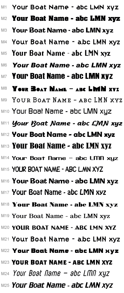 Boat Name and lettering Fonts